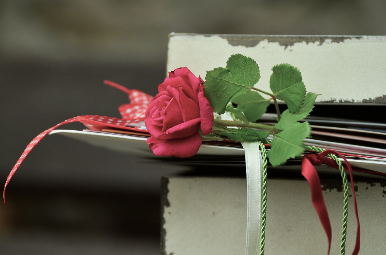 Love letters and rose in a mailbox